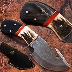 custom handmade damascus steel skinner gut hook knife