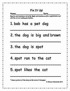 worksheets on punctuation and capital letters 20863 fix it up sentences capital letters and ending punctuation by sherry clements