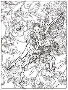 Ausmalbilder Elfen Erwachsene Ein Ausmalbild Einer Elfe Welche Inmitten Blumen