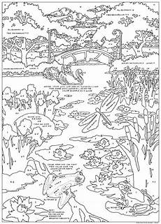 free coloring pages pond animals 17411 pond color by number stuff2color color by number for adults and children