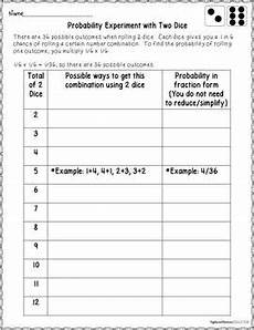 probability experiments worksheets 5761 probability with dice theoretical and experimental probability activity