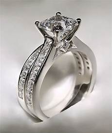 3 72ct princess cut engagement ring matching wedding