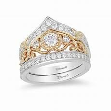 enchanted disney cinderella 0 71 ct t w diamond crown bridal in 14k two tone gold two