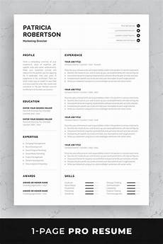 professional resume template with one page and two