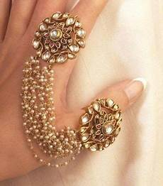 mughal kundan ring duo attached with pearls a unique piece