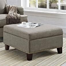 fabric storage ottoman square coffee table tufted nailhead