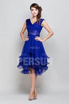 Robe Demoiselle D Honneur Courte Bleu Royale D 233 Collet 233 E En