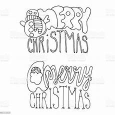 merry christmas outline pictures christmas coloring page with two merry christmas lettering vector design for banners invitations