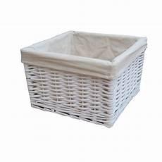 Basket Storage by Square White Wicker Storage Basket