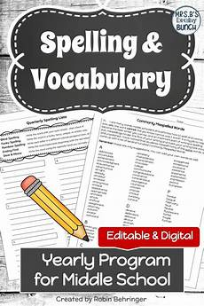 spelling practice worksheets middle school 22479 spelling and vocabulary lists and activities editable and digital education middle school