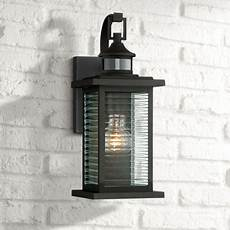 timberland modern outdoor wall light fixture textured black 13 3 4 quot clear stripped glass