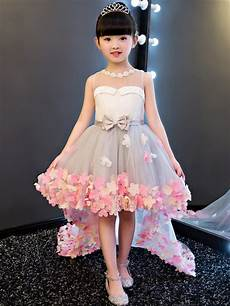 jewel neck bowknot high low flower girl dress tidebuy com