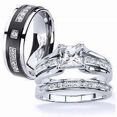ebay wedding rings sets his and hers stainless steel princess cut wedding ring titanium wedding band ebay