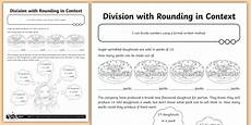 division with rounding in context worksheet addition