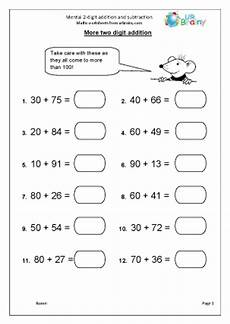 mental math worksheets addition and subtraction mental 2 digit addition and subtraction subtraction maths
