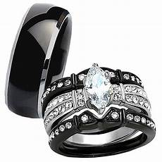 4 pc his titanium black stainless steel wedding engagement ring band ebay