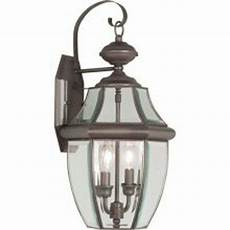 livex lighting providence 2 light bronze outdoor wall lantern with clear beveled glass 2251 07