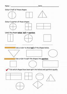 shapes in half worksheets 1140 find half and quarters of shapes worksheets by ruthbentham teaching resources tes