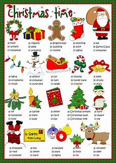 christmas time multiple choice interactive worksheet