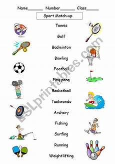 sports worksheets free 15797 sport match up esl worksheet by janster