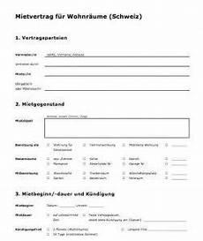 Kündigung Mietvertrag Vorlage Zum Ausdrucken - vorlage mietvertrag schweiz muster und vorlagen