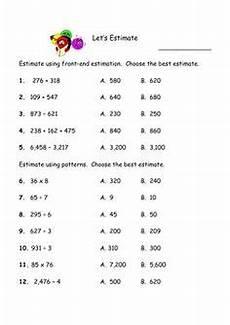 front end estimation addition worksheets 8172 math front end estimation on worksheets math and middle school maths