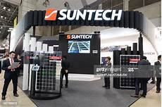 suntec solar solar panels are on display at the suntec power japan booth during news photo getty images