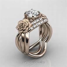 nature inspired 14k rose gold 1 0 ct white sapphire diamond rose vine engagement ring wedding