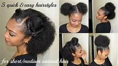 5 quick easy hairstyles for short medium natural hair disisreyrey youtube