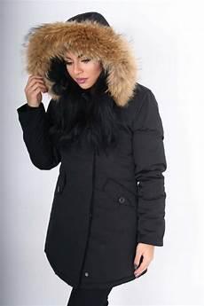 gabriella black coat with large raccoon fur