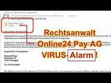 virus alarm rechnung rechtsanwalt online24 pay ag
