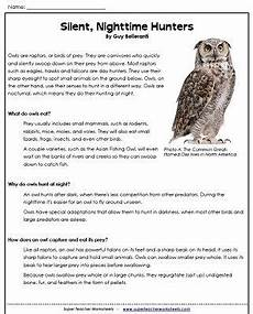 owl reading comprehension passage with questions quot silent nighttime hunters quot from super