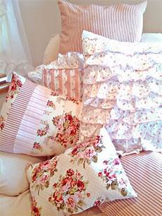shabby chic pillows and pink floral with stripes