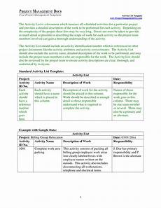activity list project activity list template templates at