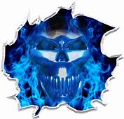 Ripped Flaming Skull Race Car Go Kart Motorcycle Vinyl