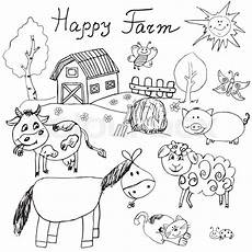 happy animals coloring pages 17007 happy farm doodles icons set stock vector colourbox