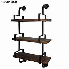 ikayaa 3 tier rustic industrial iron pipe wall shelves