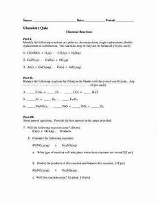 classifying chemical reactions worksheet answers