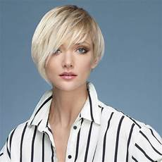 short haircut with one ear revealing side and a stand up shirt collar