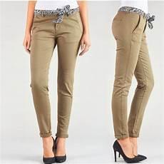 Pantalon Chino Femme Le Temps Des Cerises Lidy Baige Camel