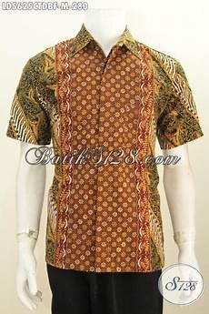 pakaian batik lelaki lengan pendek motif bagus berbahan dolby baju kerja batik desain