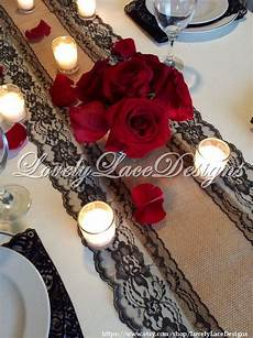 wedding decor burlap lace table runner black lace 5ft