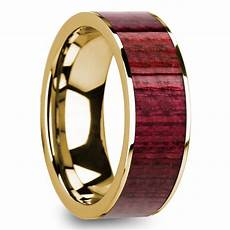 purpleheart inlay men s wedding ring in yellow gold