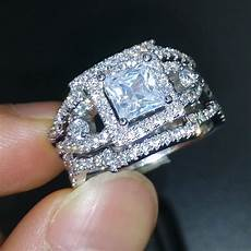 new jewelry engagement band princess cut stone 5a zircon birthstone 925 sterling silver 3 in 1