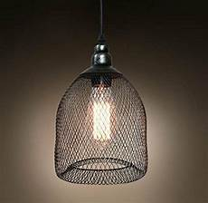 vintage industrial pendant light with metal and wire shade with base ebay