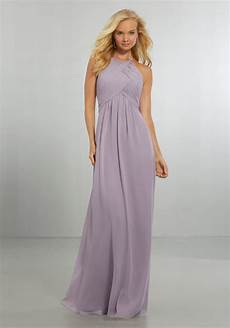 chiffon bridesmaids dress with draped bodice and keyhole