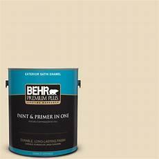 behr premium plus 1 gal 22 navajo white satin enamel exterior paint 905001 the home depot