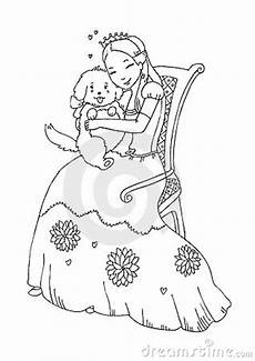 Ausmalbilder Prinzessin Hund Princess With Coloring Page Royalty Free Stock Photo