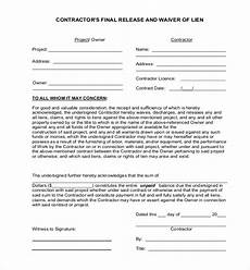 free 13 lien release sle forms in ms word pdf excel