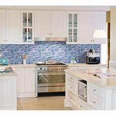 Glass Tile Backsplash Kitchen Blue Glass Mosaic Wall Tiles Gray Marble Tile
